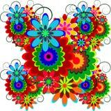 Heldere, kleurrijke decoratie van bloemen met krullen Stock Foto