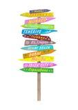 Heldere kleurrijke houten richtingstrandtekens met tekst op pool Stock Foto's