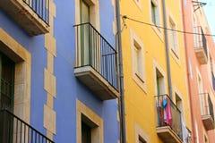 Heldere kleurrijke huizen in Spanje Royalty-vrije Stock Fotografie