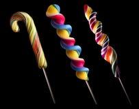Heldere kleurrijke lollyreeks Stock Foto