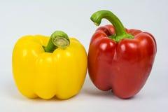 Heldere kleurrijke paprika's die op wit worden geïsoleerdb Stock Foto's