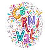Heldere kleurrijke vector met de hand geschreven van letters voorziende tekst Populaire Gebeurtenis in Brazilië Carnaval-Titel me stock illustratie