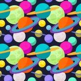 Heldere kosmische naadloze patroonachtergrond met grappige beeldverhaalplaneten in open plek vector illustratie