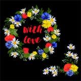 Heldere kroon en grenshoek van wilde bloemen op een zwarte achtergrond met liefde royalty-vrije illustratie