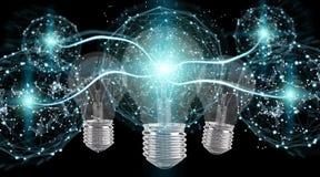 Heldere lightbulb die andere bollen het 3D teruggeven verlichten Stock Fotografie