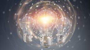 Heldere lightbulb die andere bollen het 3D teruggeven verlichten Stock Afbeeldingen