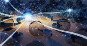 Heldere lightbulb en verbindingen die andere bollen 3D ren verlichten Royalty-vrije Stock Fotografie