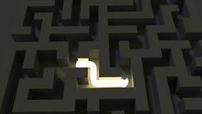 Heldere lijn die een donker labyrintraadsel oplossen stock illustratie
