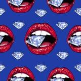 Heldere lippen die fonkelen briljant houden Naadloos patroon Realistische grafische tekening Achtergrond Blauwe kleur Stock Afbeelding