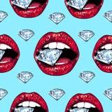Heldere lippen die fonkelen briljant houden Naadloos patroon Realistische grafische tekening Achtergrond Lichtblauwe kleur Royalty-vrije Stock Afbeelding