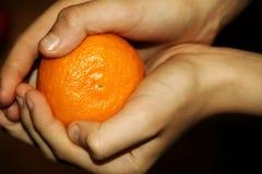 Heldere mandarijn in de handen van kinderen stock fotografie