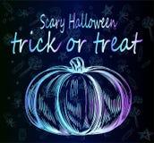 Heldere modieuze neonpompoen - affiche voor Halloween De truc of behandelt Stock Foto