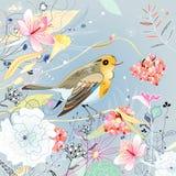 Bloemen achtergrond met een vogel Stock Fotografie
