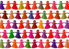 Heldere multicolored verwijderde document kettings vrouwelijke cijfers stock illustratie