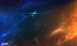 Heldere Nachthemel met stercluster Vector illustratie Stock Afbeelding
