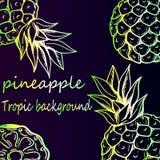 Heldere neonachtergrond - tropisch ananaspatroon Royalty-vrije Stock Foto's