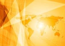 Heldere oranje de technologieachtergrond van de wereldkaart Royalty-vrije Stock Fotografie