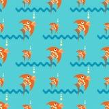 Heldere oranje vissen op een blauwe achtergrond met golven en bellen Naadloos patroon vector illustratie