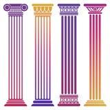 Heldere oude die kolommen op witte achtergrond worden geplaatst vector illustratie