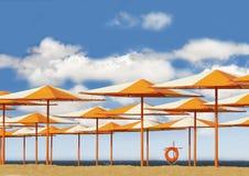 Heldere paraplu's op zandstrand Royalty-vrije Stock Fotografie