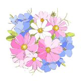 Heldere periwinkl, madeliefje en vergeet-mij-nietje wilde sleutelbloembloemen vector illustratie
