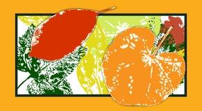 Heldere prentbriefkaar met de herfstbladeren Stock Afbeelding