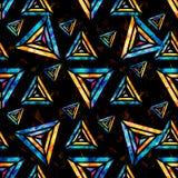 Heldere psychedelische veelhoeken op een zwart abstract geometrisch naadloos patroon als achtergrond vector illustratie