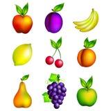 Heldere reeks diverse vruchten Royalty-vrije Stock Afbeeldingen