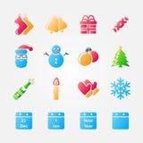Heldere reeks Kerstmispictogrammen royalty-vrije illustratie