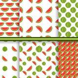 Heldere reeks naadloze patronen met watermeloenen vector illustratie