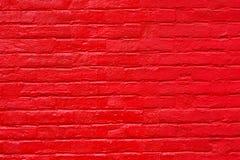 Heldere rode geschilderde bakstenen muur Royalty-vrije Stock Afbeelding