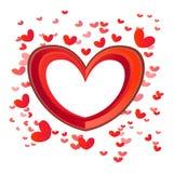 Heldere rode liefdeharten Stock Afbeeldingen