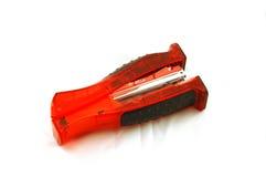 Heldere Rode Nietmachine op Wit royalty-vrije stock fotografie