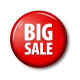 Heldere rode ronde knoop met woorden` Grote Verkoop ` Royalty-vrije Stock Fotografie