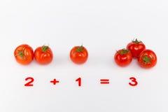 Heldere rode tomaten en aantallen Royalty-vrije Stock Foto's