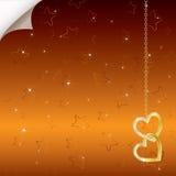 Heldere romantische achtergrond met twee gouden harten Royalty-vrije Stock Foto