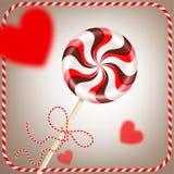 Heldere ronde gestreepte roodbruine lolly met decoratief koord en vage harten in kader Bes en chocoladesuikergoed  Vector Illustratie