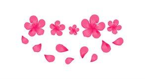 Heldere Roze bloemen en vliegende die bloemblaadjes op Witte achtergrond worden geïsoleerd Appel-boom bloemen Cherry Blossom Vect stock illustratie