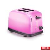 Heldere roze broodrooster Vector die op wit wordt geïsoleerd Stock Fotografie