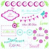 Heldere roze groene en blauwe Interessante elementen voor de vector van de huwelijksuitnodiging Stock Afbeeldingen