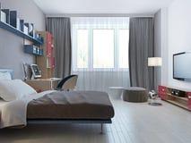 Heldere slaapkamer minimalistische stijl stock illustratie