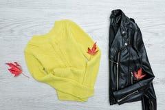 Heldere sweater, een zwart jasje en bladeren modieus concept royalty-vrije stock afbeelding
