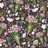 Heldere textuur met bloemen en vogels royalty-vrije illustratie