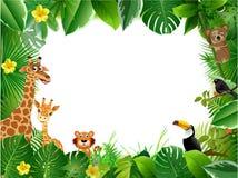 Heldere tropische achtergrond met beeldverhaal; wildernis; dieren; royalty-vrije illustratie