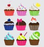 Heldere Vector cupcakes Stock Foto