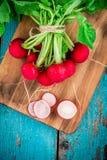 Heldere verse organische radijzen met plakken en groene uien op scherpe raad Stock Afbeeldingen