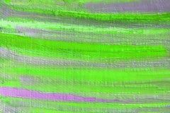 Heldere vlekken en vlekken van groene verf op het canvas abstracte achtergrond Royalty-vrije Stock Foto's