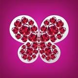 Heldere vlinder van hart-vormige robijnen Stock Afbeeldingen
