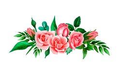 Heldere waterverfsamenstelling van roze, koraalrozen en bladeren Malplaatje voor hand-drawn huwelijksuitnodigingen, geïsoleerd o royalty-vrije illustratie