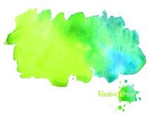 Heldere waterverfvlek Blauwe en groene hand getrokken achtergrond Vector malplaatje voor ontwerp Royalty-vrije Stock Afbeelding